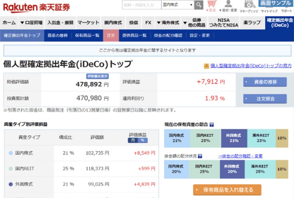 楽天証券のiDeCoの管理画面
