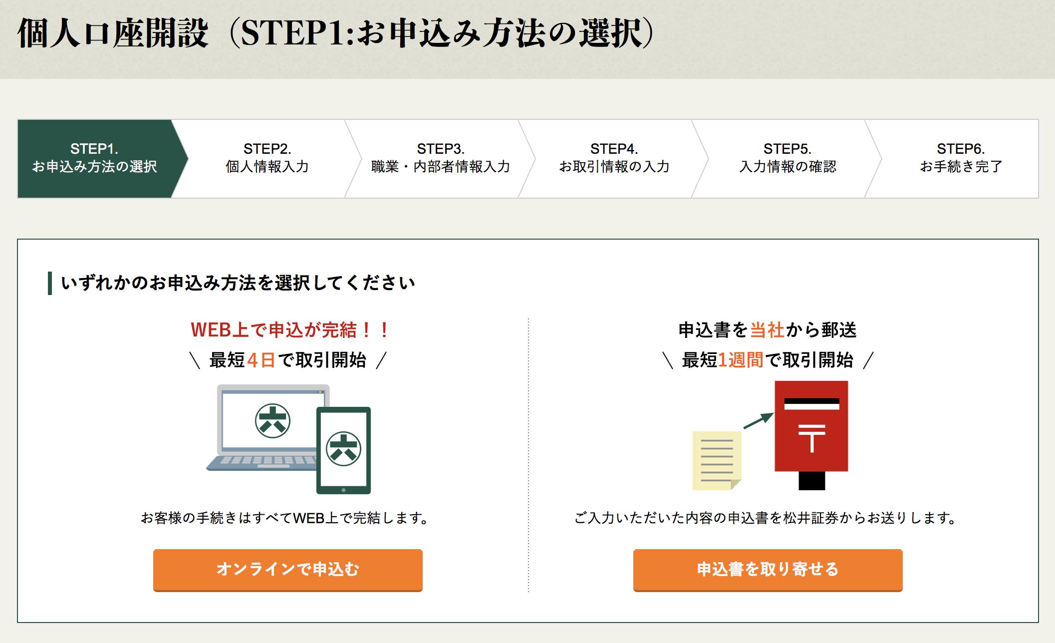 松井証券口座開設画面遷移2