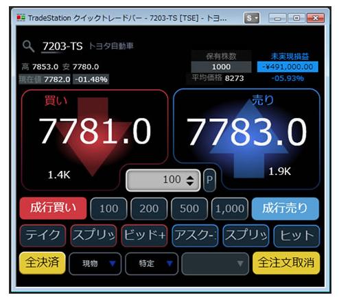 トレードステーション のQTBの取引画面