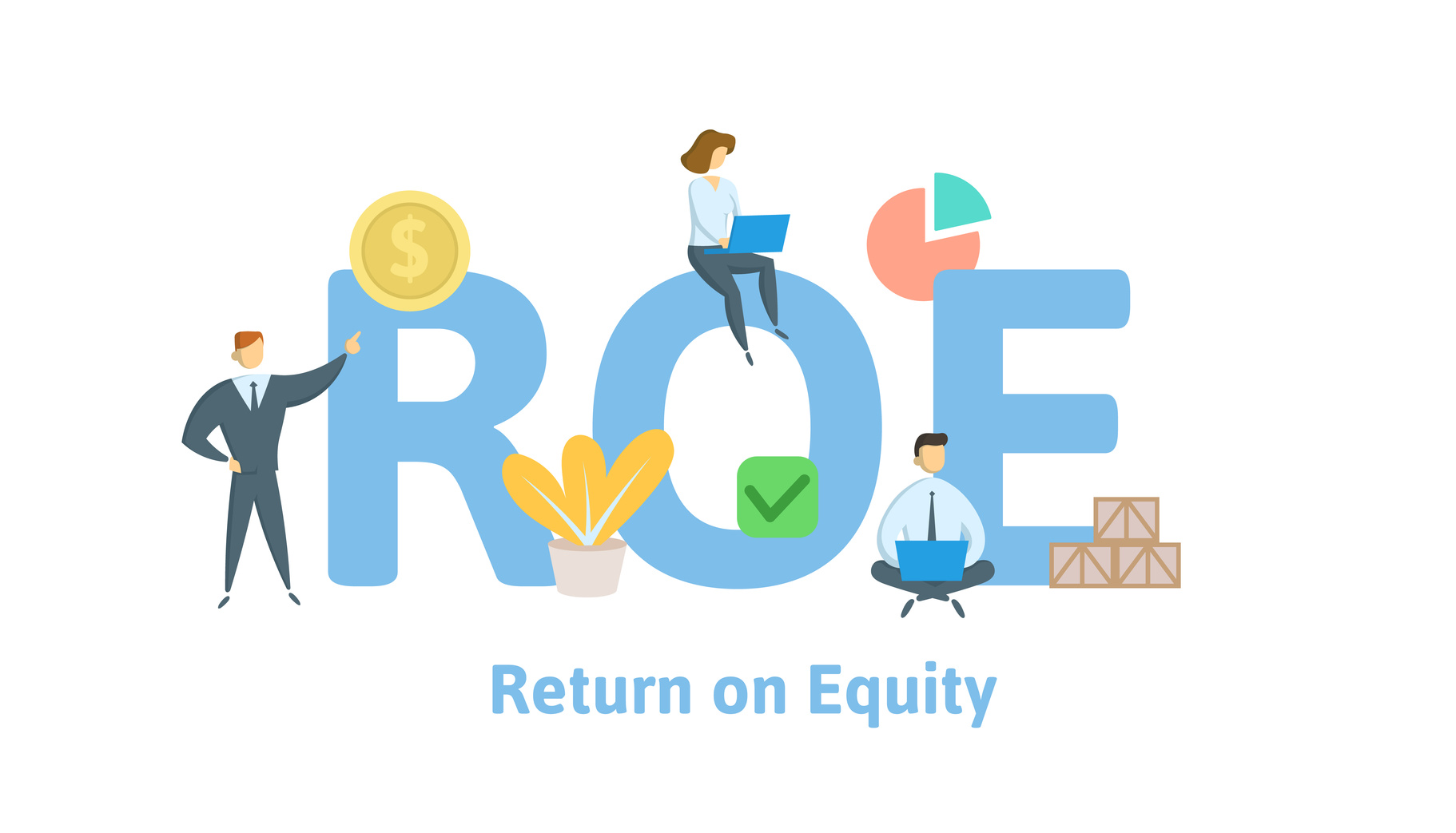 ROE, return on equity. Concept with keywords, letters and icons. Colored flat vector illustration. Isolated on white background.