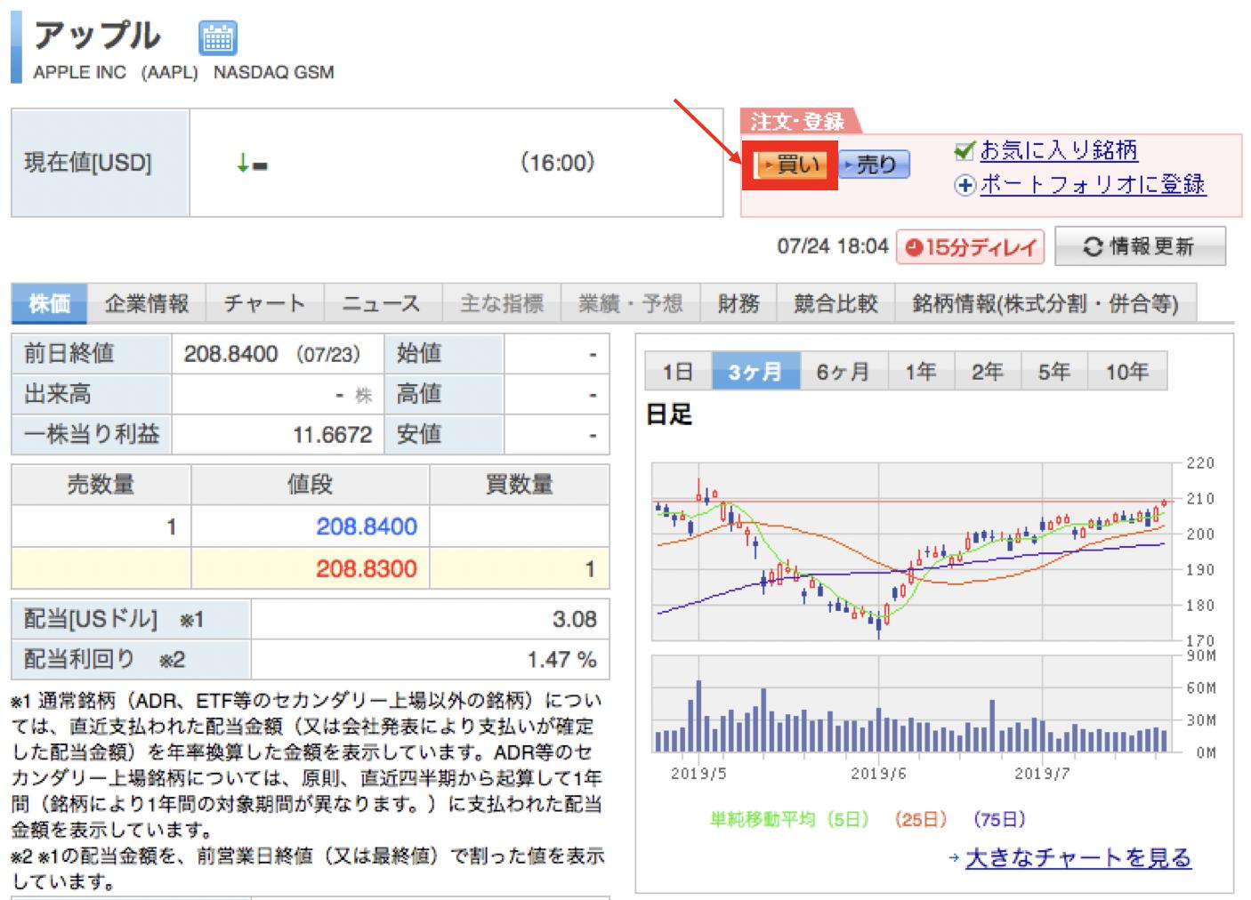 楽天証券でのアップルの購入画面への遷移