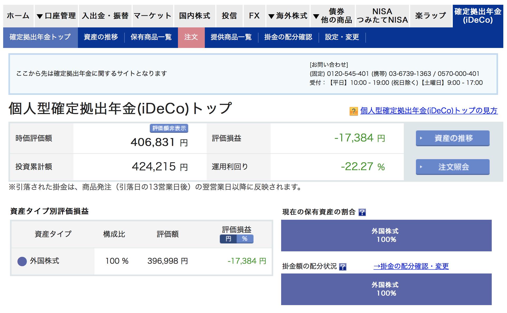 楽天証券のiDeCoの運用画面