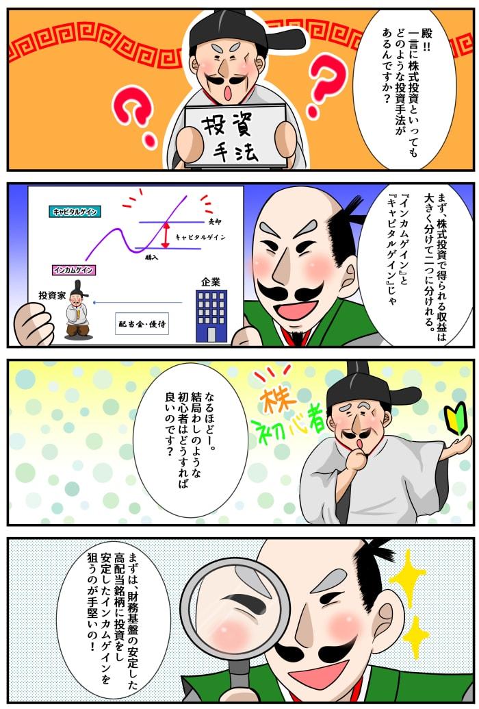 株を購入スタイルの漫画