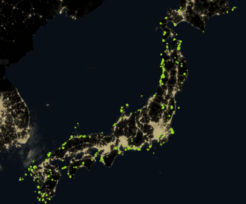 日本の風力発電投資の設置場所