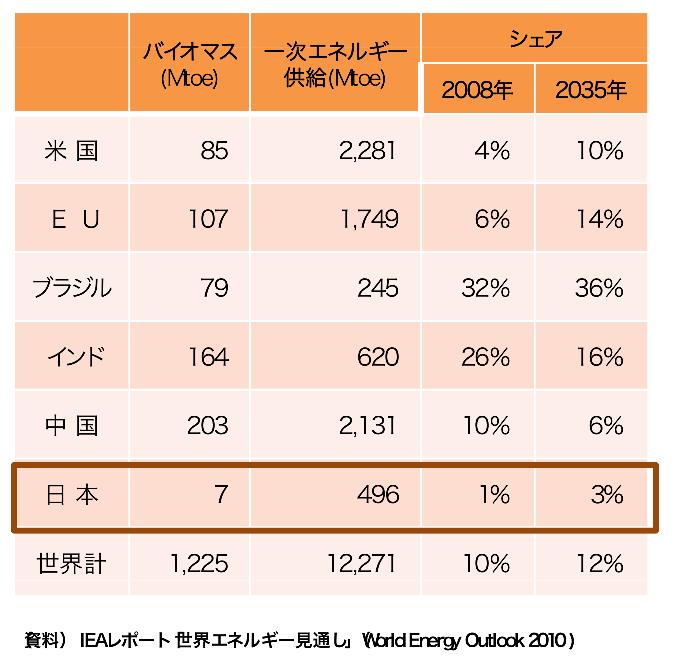 主要各国のバイオマスエネルギーのシェアの比較
