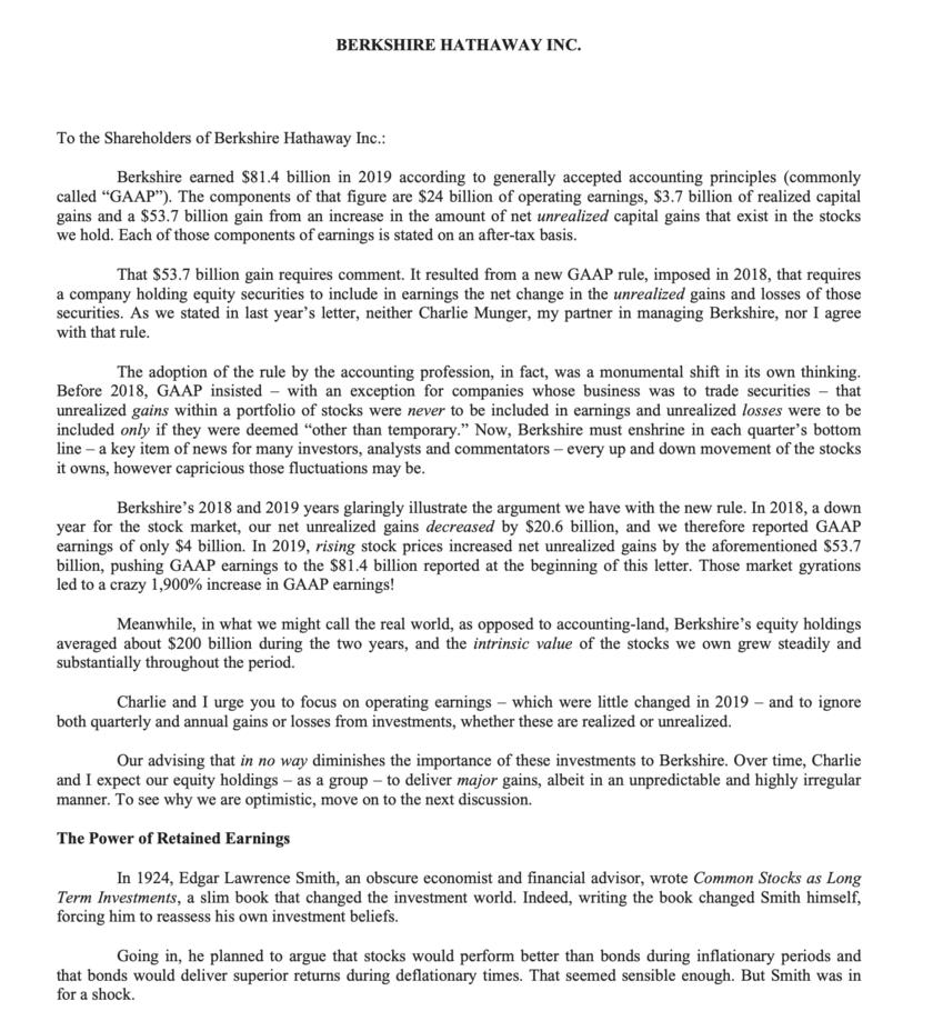 バフェットからの手紙2020